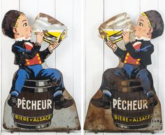 This fantastic, double sided, paint on metal figure was made as a promotional piece by the Fischer brewery for their Pêcheur (Fisherman) beer. Measuring just over a meter and half in height, this is a very impressive piece. Metallic Paint, Brewery, Antiques, Boys, Painting, Fictional Characters, Antiquities, Painting Art, Paintings