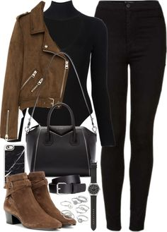 Outfit with black jeans, brown suede jacket and boots A fashion look from September 2016 featuring leather jackets, high rise jeans and Cushnie Et Ochs. Browse and shop related looks. Mode Outfits, Jean Outfits, Trendy Outfits, Fashion Outfits, School Outfits, Simple Edgy Outfits, Fashion Clothes, Travel Outfits, Outfit Jeans