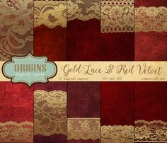 Gold Lace and Red Velvet Digital Paper by OriginsDigitalCurio