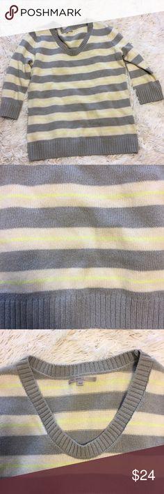 Gap Medium striped sweater gray white neon yellow Gap Medium striped sweater gray white neon yellow GAP Sweaters