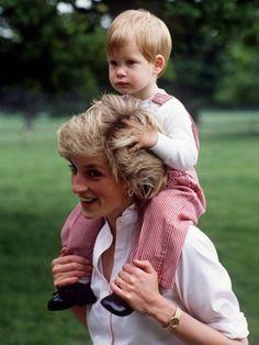 Princess Diana with a baby Prince Harry.
