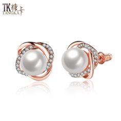 TANGKA 2017 new European and American classic pearl earrings fashion wild charming female earrings jewelry
