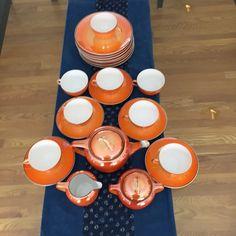 Midcentury Orange Luster Ware Tea/Luncheon Set by Rudolstadt. Made in Germany. Modern Living, Luster, Etsy Seller, Germany, Tea, Orange, Elegant, Chic, Antiques