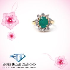 Add some sparkle to your finger with this dazzling emerald and diamond ring.