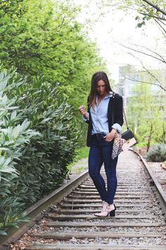 Derailed by @Alexandra Grant 's incredible denim-on-denim look, worn with her James Jeans Twiggy - Click now to steal her style!