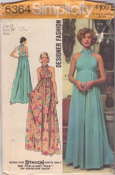 Simplicity 5364 vintage 70s FUNKY COOL twisted bodice halter top dress sewing pattern, #MOMSPatterns