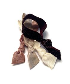 Glitter Neutral Hair Ties Stretchy Elastic Brown Ivory Set of Four Romantic Hair Ties That Double As Wrist Bands by KCElasticTies on Etsy