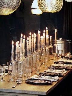 Candles in plain bottles.