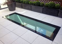 Walk on glass roof lights come in a selection of sizes. Structural Glass Roof installations which you can walk on make impressive features for all kinds of properties. Roof Skylight, Roof Window, Skylights, Retractable Pergola, Diy Pergola, Pergola Kits, Roof Design, House Design, Walking On Glass