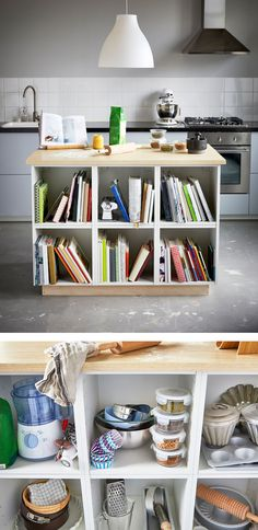 A large kitchen island is used for baking on top and holds lots of cookbooks on the shelves below. A close-up image shows baking tools stored on the shelves of a large kitchen island.