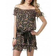 Off-Shoulder Paisley Printed Ribbon Dress 5