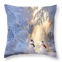"""Snowman Couple Standing Next Throw Pillow 14"""" x 14"""""""