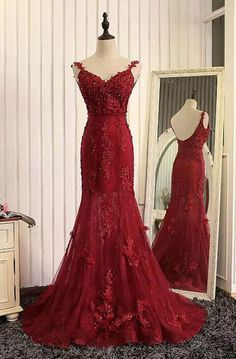 Red organza lace applique v-neck open back long prom dresses, mermaid dresses,Sexy dress,Mop the floor long dress,Backless dress