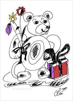 JACQUELINE DITT - Happy Bear Original Grafik handsigniert Bilder Druck Bär Tier