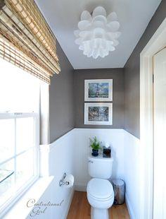 Cute half bath - light fixture, Paris prints, 'Seine' by Vaslpar greige paint