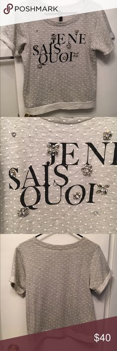 """Short-sleeve embellished sweater Short cuffed sleeves, stones and metal embellishments, """"je ne sais quoi"""" graphic statement on top Jessica Simpson Sweaters Crew & Scoop Necks"""