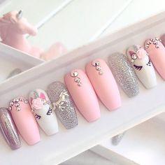 Nails pink Pink unicorn press on false nails stiletto nails short coffin Fake nails Acrylic nails gel nails holographic short nails Gorgeous Nails, Pretty Nails, Amazing Nails, Fabulous Nails, Elegant Touch Nails, Super Nails, Nagel Gel, Holographic Nails, Press On Nails