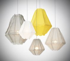 gray and yellow lights | Enoki Cumulus -Pendant Light Soft Grey/Yellow