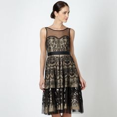 Jenny Packahm No 1 Black Overlay Embriodered Sequined Dress UK16 £175