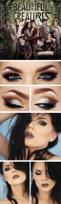 Beautiful Creatures inspired dramatic eyeshadow and face makeup look, using warm and cool color shadow and dark frosty lip, created by makeup artist Linda Hallberg | followpics.co