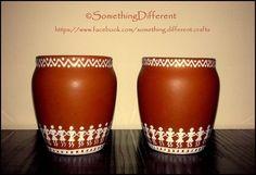 Hand painted worli pots Worli Painting, Bottle Painting, Ceramic Painting, Bottle Art, Bottle Crafts, Pottery Painting Designs, Pottery Designs, Pottery Art, Painted Flower Pots