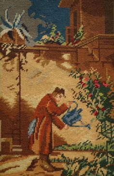 22-034-Vintage-COMPLETED-Needlepoint-Tapestry-Watering-Flowers-Figural-Art