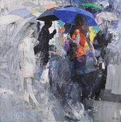 Antonio TAMBURRO, Blue ombrella, 140 x 140 cm, huile sur toile. http://www.galeriealaindaudet.fr/artistes/peintures/tamburro/