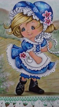 From my friend Bella ❤️ Tole Painting, Fabric Painting, Sarah Kay, Holly Hobbie, Cute Drawings, Vintage Images, Cute Art, Cute Kids, Embroidery Patterns