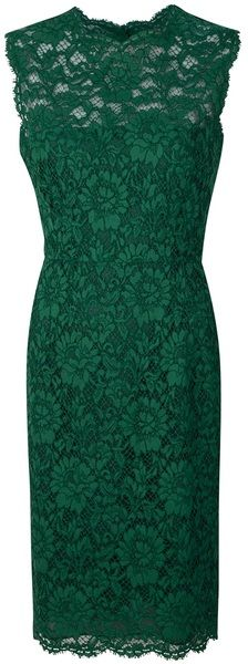 VALENTINO Green Fitted Lace Dress. If I could find one in purple.