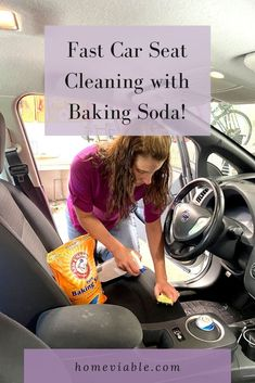 Clean your car seats with baking soda with this DIY carpet cleaning hack. This all natural remedy will have stains, dirt, and dust up out of your auto seats in not time #homeviable #carcleaning #bakingsoda #allnatural #DIY Car Seat Upholstery, Cleaning Car Upholstery, Car Cleaning, Cleaning Hacks, Clean Cloth Car Seats, Cleaning Leather Car Seats, Vinegar Cleaning Solution, All Natural Cleaning Products, Seat Cleaner