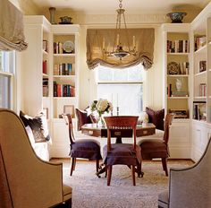 bookshelves- top lit and window seat Built In Bookcase, Bookcases, Dining Room Design, Dining Rooms, Dining Table, Home Libraries, Built Ins, Game Room, Home And Living