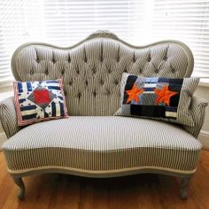 Victorian Button Back Sofa Restoration -- lovely for the beach house