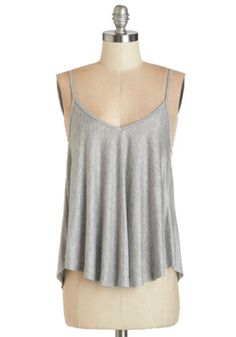 ModCloth Mid-length Spaghetti Straps Lounging in Loveliness Top in Grey