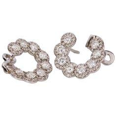 Diamond White Gold Front Hoop Earrings | From a unique collection of vintage hoop earrings at https://www.1stdibs.com/jewelry/earrings/hoop-earrings/