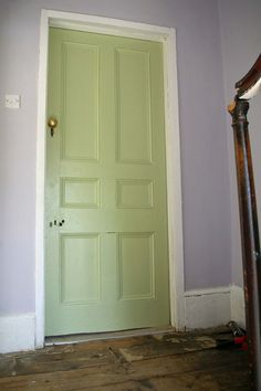 obsessed with these tones- farrow and ball calluna on walls , cooking apple green on the door