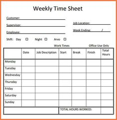 weekly time sheet printable