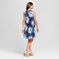 Women's Floral Printed Pleated High Neck Dress - Lux II - Navy/Teal 14, Blue