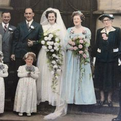 Rare hard to come by hand colour 1940s wedding photograph Lovely photo of members of the family / friends with the bride and groom Nice dresses and suits! Measurements approx of photo inc mount Length- 16.5cm Height- 11.5cm Overall in good vintage condition. Signs of wear with age. Bit of bumping and scuffing. Please see pics of the pic Free UK postage Please find other photos here https://www.etsy.com/shop/foxvintageuk?section_id=21607633