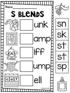 Blends activities for S blends fun Word Work Activities, Phonics Activities, Preschool Curriculum, Speech Therapy Activities, Preschool Worksheets, 1st Grade Worksheets, Preschool Phonics, Homeschool, Toddler Activities