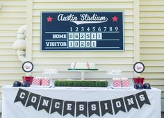 Modern baseball birthday party! See more party ideas at CatchMyParty.com!