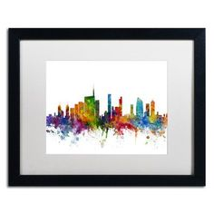 "Trademark Art ""Milan Italy Skyline White"" by Michael Tompsett Framed Graphic Art Size: 1"