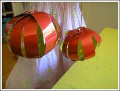 Shiny Paper Lantern from strips of metallic paper and split pins (to strengthen the strips use clear contact paper)