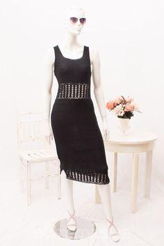 ASOS Crochet MIDI Black Bodycon Sleeveles DRESS Festival BOHO Size UK 12 Eu 40