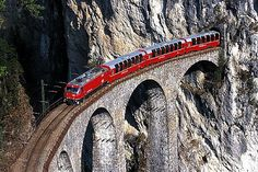 Red #Train #Bernina Between #Italy and #Switzerland by http://www.benvenutolimos.com/