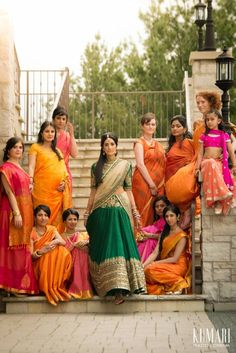 south asian bridal party, indian bride, bridesmaids sarees