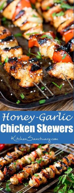 Honey Garlic Chicken Skewers - Tender pieces of marinated chicken cooked on a BBQ or griddle for a sweet and smoky flavour.