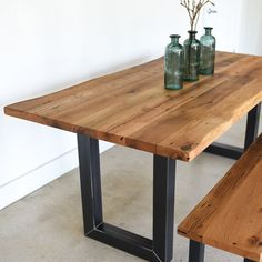 diy adjustable side table to bistro table Slab Table, Wood Table, Dining Room Table, Kitchen Table Legs, Live Edge Tisch, Live Edge Table, Reclaimed Wood Furniture, Rustic Furniture, Antique Furniture
