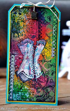 Layered Corsetry Tags by Liesbeth Fidder using Darkroom Door 'Corsetry' Rubber Stamp Set.