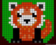 Red panda bear perler bead pattern