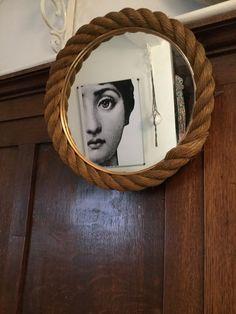 Miroir vintage en corde Audoux-Minet